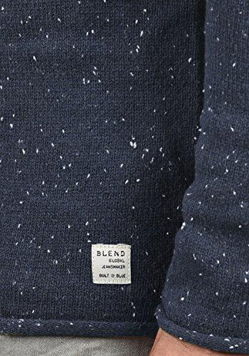 BLEND Gabrio Herren Strickpullover Feinstrick Pulli mit Nap-Yarn und Rundhals-Ausschnitt aus hochwertiger Baumwollmischung Navy (70230)