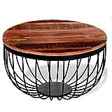 Folding table NAN Couchtisch Tischständer Runde Solid Reclaimed Recyclingholz 60x35 cm Wohnzimmer