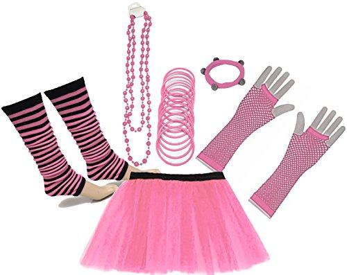 A-Express 80er Damen Neon Tütü Rock Beinstulpen Fischnetz Handschuhe Tüll Fluo Ballett Verkleidung Party Tutu Rock Kostüm Set (36.44, Hellrosa)