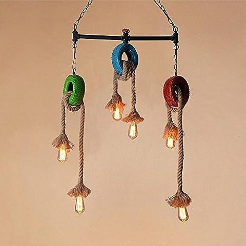 BJVB Vintage Metal hierro tubo lámpara restaurante cafetería neumático cuerda colgante de la lámpara. bulbo de Edison 3Lamp cáñamo cuerda colgante luces techo