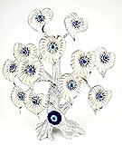 KD Nazar Bäumchen Blaues Auge Boncuk Heart (Silber - weiß - Blau) / Glücksbringer/ca. 27 cm Hoch/Äste Flexibel Verstellbar/Stamm aus Kunststein