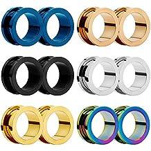 HuaCan 12 Piezas Expansores de Túnel de Oreja Dilatadores Dilatación Ear Plug Piercing Joyas con Borde