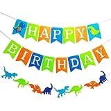 MAKFORT Happy Birthday Dinosaurier Geburtstag Kindergeburtstag Girlande Party Deko