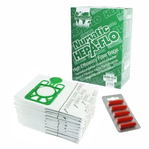 Hepa Flo Staubsauger Beutel Numatic Henry Hetty etc (10-er, 20-er oder 40-er Pack + optional Beutel Lufterfrischer Stäbchen) - 10 Beutel + 5 Lufterfrischer Stäbchen