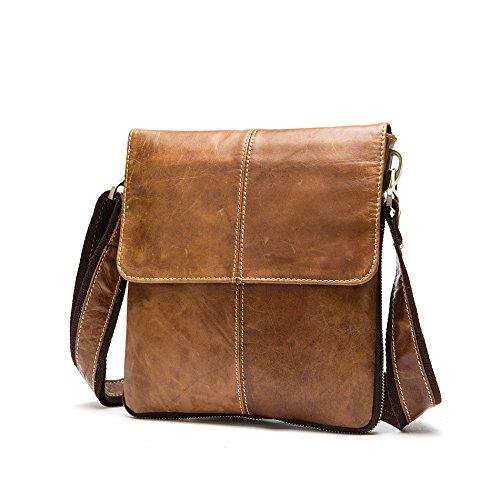 Meoaeo Hot Spring Leisure Bag Borsa A Tracolla In Pelle Sezione Verticale Uomo Marrone
