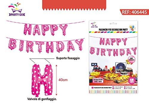 PARTYLANDIA Banner Ballons Mylar Folien Buchstaben Happy Birthday, Fuchsie mit weißen Punkten