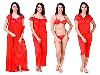 cc3f2da028c Freely Women s Honeymoon Satin Nighty Set - Pack of 6  Amazon.in ...