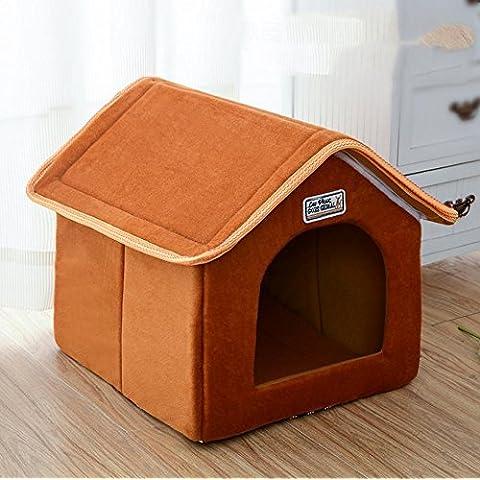 WXX extraíble y lavable Pet Simulación perro casa perrera Aserrín para gatos small marrón