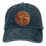 Eriesy Gorra de béisbol Hip Hop Sombreros Unisex Yin Yang Bonsai Tree Washed Denim Baseball Cap Sun Visor Hat Adjustable Snapback