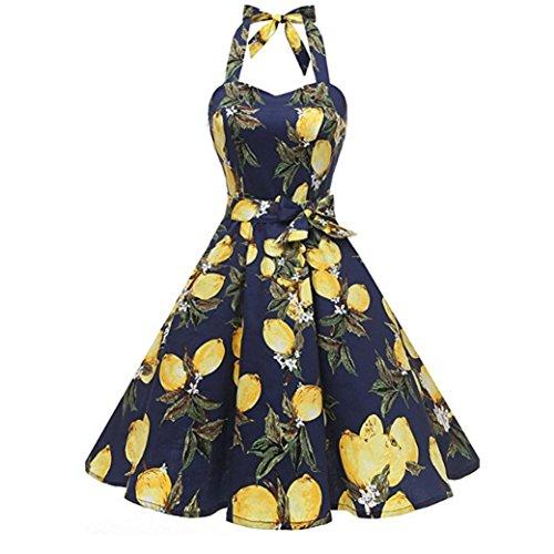 (SANFASHION Damen Vintage Druck Bodycon ärmelloses Halter Abend Partei Abschlussball Schwingen Kleid)
