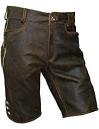 Gr.44-72 Trachten Lederhose kurz braun speckig Antik-Patina Trachtenlederhose