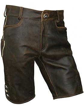 Lederhose Trachten kurz braun speckig Antik-Patina Herren Trachtenlederhose mit Reißverschluß Zipp echte Hornknöpfe...