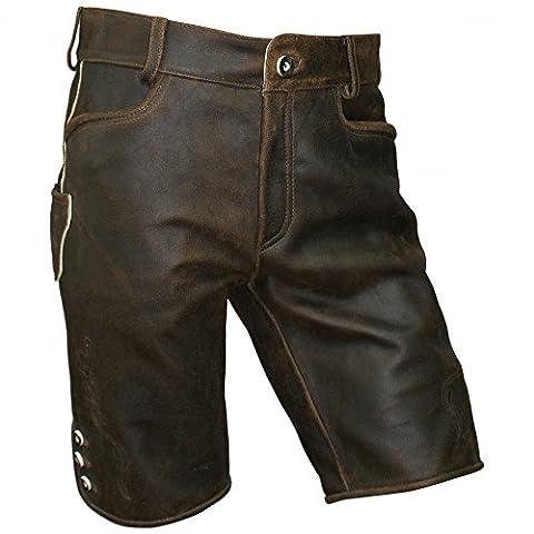 Gr.44-72 Trachten Lederhose kurz braun speckig Antik-Patina Trachtenlederhose, Größe:58
