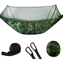 NBZH Camping hamac 2 Personnes avec moustiquaire, Pop-up Light Double Parachute hamacs, Swing Sleeping hamac lit avec Filet Tente pour l'extérieur, randonnée pédestre, Backpacking,Camouflage