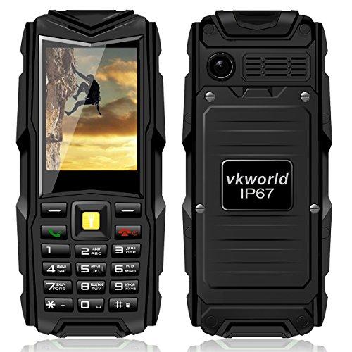 VKworld Handy Wasserdicht Outdoor 2016 für Senioren Dual SIM Staubdicht Stoßfest Ohne Vertrag Große Tasten Simlockfrei Smartphone mit Kamera Taschenlampe, für Tauchen