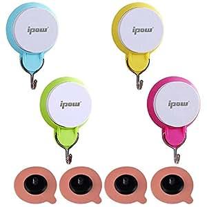 4 PZ Ipow® Colorati ganci a ventosa, appendini/organizzatori per appendere asciugamani e altri accessori ecc.