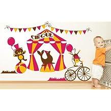 Adesivi Creativi adesivo sticker murale Circo party Dimensioni 150 X 98 cm | wall stickers | adesivi da parete | Decorazione murale | decalcomania