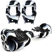 6.5 Pulgadas Funda de Silicona para Hoverboard Smart Balance Wheel Self Balancing Scooter (Negro y blanco)