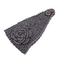 CoFashion Women Crochet Headband Rose Knitted Hairband Head Wrap for Outdoors Sports Windy Weather Grey