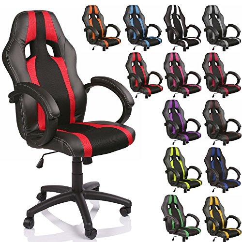 TRESKO Silla de oficina Racing silla de escritorio ordenador giratoria disponible en 14 colores, bicolor, silla Gaming ergonómica, pistón de gas certificado por SGS, adecuada para niños mayores (Negro / Rojo)