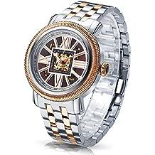 Time100 reloj moderno automático para hombre correa de acero inoxidable esqueleto reloj mecánico