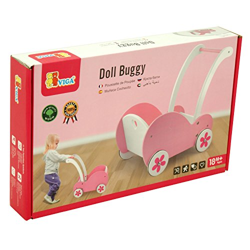 Viga Wooden Doll's Pram - Girls Buggy For Doll