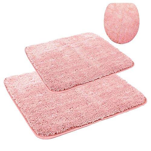 Fashionpillow WC - und Badezimmer Vorleger - Set/Mikrofaser Toiletten- und Badvorleger, 3-teiliges Set, Bodenmatte OHNE Ausschnitt, für Wand-/ Hänge-WC, in der Farbe Rose