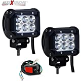 Allextreme Combo Pack Of 2X 18 Watt 6 Led Motorcycle Fog Lamp Drl Fog Light & On/Off Button Switch For All Motorcycles, Atv, Boats And Cars