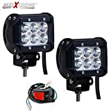 #8: Allextreme Combo Pack Of 2X 18 Watt 6 Led Motorcycle Fog Lamp Drl Fog Light & On/Off Button Switch For All Motorcycles, Atv, Boats And Cars