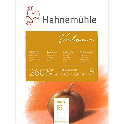 Pastellpapier Velour Block weiß 260g/m², 36x48cm, 10Blatt