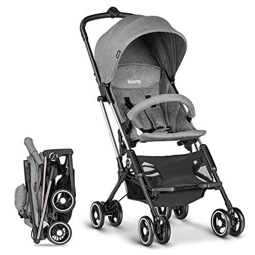 *besrey Mini Kinderwagen kann mit einer Hand zusammenklappbar ins Flugzeug – sehr leicht und klein Reisebuggy Kindersportwagen – Grau*