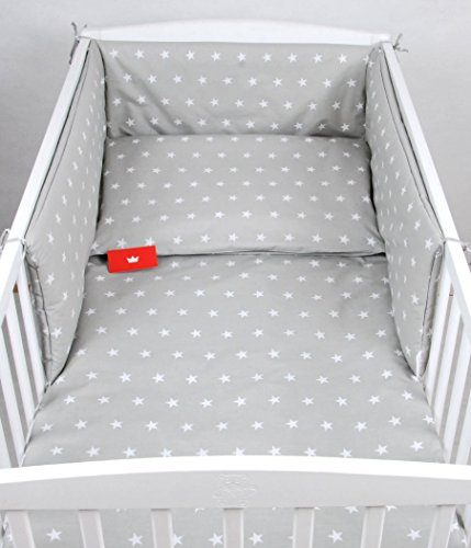 Preisvergleich Produktbild BABYLUX Bettwäsche Bezug 2 Tlg. 100 x 135 cm Kinderbettwäsche Bettwäsche Bettset Babybettwäsche (91. Sterne Grau)