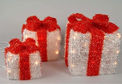 Set of 3 Lit White parcel with red bow