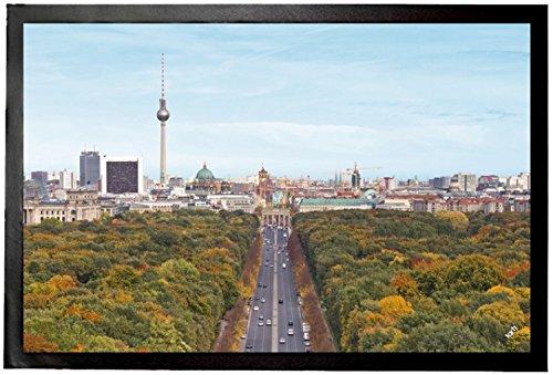 1art1 94184 Berlin – Blick Über Die Stadt, Von Der Siegessäule Zum Brandenburger Tor Fußmatte Türmatte 60 x 40 cm