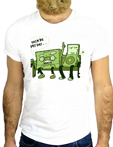 T SHIRT Z0885 MP3 MUSIC FUN CASSETTE VINTAGE COOL CARTOON USA AMERICA HIPSTER GGG24 BIANCA - WHITE