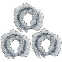 sourcingmap® 3 pz perla adornato grinza elastico peli giro bracciali azzurro per signore donna
