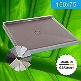 Duschboard 150x75 Komplett - Set, einbaufertig mit Kerlite