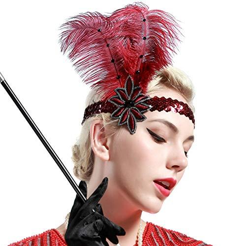Charleston Kostüm Schmuck - ArtiDeco 1920s Feder Stirnband 20er Jahre Stil Flapper Haarband Gatsby Stirnband Damen Kostüm Charleston Accessoires (Rot)