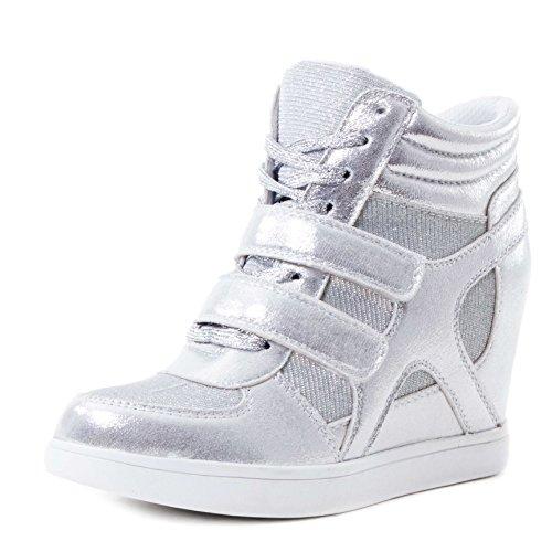 Stylische Damen Keilabsatz High Top Sneaker Wedges Klettverschluss Schuhe in Lederoptik Silber