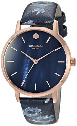 Kate Spade New York Women's 'Metro' Quartz Stainless Steel and Leather Casual Watch, Color Blue (Model: KSW1390)