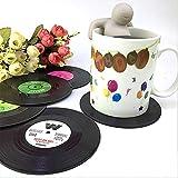 XINGRUI Isolamento 6 Pezzi/Set Retro Nero Vinile CD Record sottobicchieri Bevanda casa Tavolo stuoia della Tazza Decor caffè Drink tovaglietta stoviglie trottola, Diametro: 10.7 cm