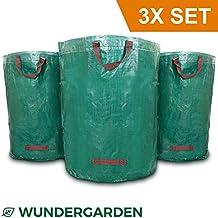 Wundergarden© - Große XL-Gartenabfallsäcke im 3er Set aus robustem PP-Gewebe für bis zu 270 liter Gartenabfälle, Laub, Grünschnitt, Pflanzenabfälle, Kompost - Rundes Format, selbststehend und faltbar - Laubsäcke & Gartensäcke