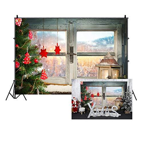 Cassisy 1,5x1m Vinyle Noël Toile de Fond Photo Fenêtre Toile de Fond de Noël Scène de Noël Fête de Noël Snow Fond De Studio Photo Enfant Portrait Photographie Props Photobooth