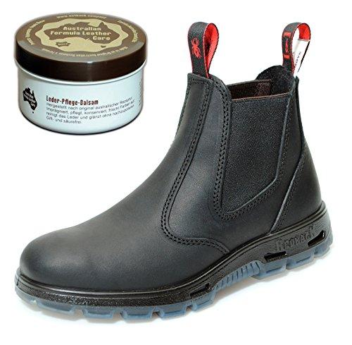 Redback UBBK Work Boots aus Australien - Unisex + 250 ml Lederpflege | Black | UK 6.5 / EU 40.0