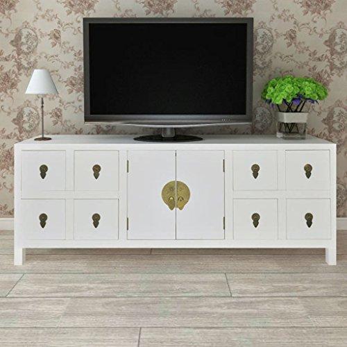2 Tür, 2 Schublade Sideboard (Shengtaieushop Asiatisches Sideboard Regal TV aus Holz mit 8Schubladen und 2Türen)