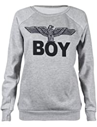 Womens New Army Boy Eagle Front Printed Ladies Long Sleeve Round Crew Neck Stretch Sweatshirt T-Shirt Top Light Grey Size 12-14