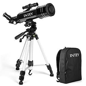 INTEY Super Klares Teleskop Tragbares Astronomisches Teleskop 70/400 Refraktor Teleskop für Einsteiger Amateur-Astronomen für Beobachtung von Himmel und Landschaft (mit Rucksack) Geschenk für Kinder
