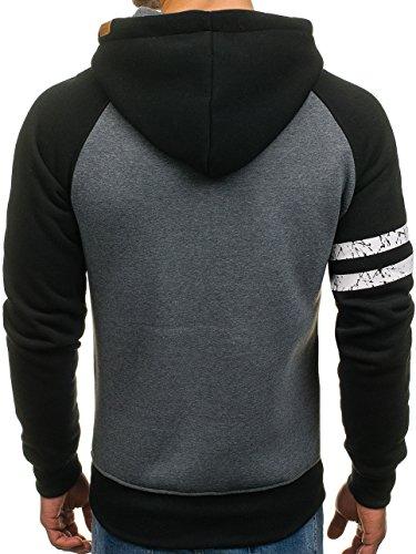 BOLF Herren Sweatshirt Pullover mit Kapuze mit Kordel Top AK72 Schwarz-Anthrazit_3643A