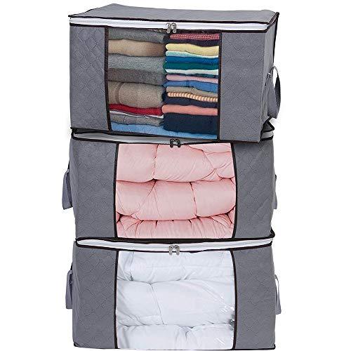 Yopih Sac de Rangement pour Couette en épais Non-tissé Sac de Rangement sous lit pour Édredons Couvertures Oreillers Jouets Vestes Vêtements (Grey Lot de 3)