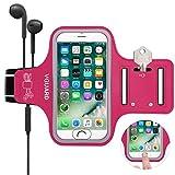 VGUARD Brazalete Deportivo para 5.1 Pulgados Moviles iPhone 8 7 6s 6 Caja del Brazalete Antideslizante para Deportes con Soporte para Llaves, Cables, Tarjetas y Banda Reflectante - Rosa Oscuro